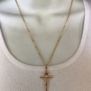 Newer real  18k gold plated cross necklaces